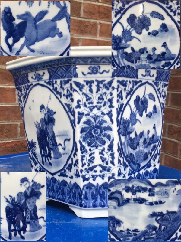 Antique Chinese Porcelain Octagon Cobalt Blue Hand Painted Planter Flower Pot