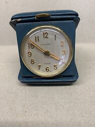 VINTAGE CORTLAND CONCORD WATCH COMP. TRAVEL ALARM CLOCK (15 Jewel)