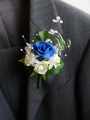 6 Royal Blue & Ivory Rose Corsage Buttonholes Wedding Flowers Artificial