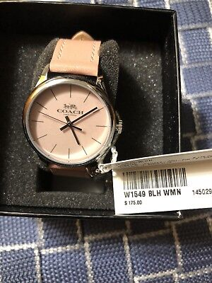 Coach Ruby Stainless Steel Leather Strap Silver Tag Watch Blush