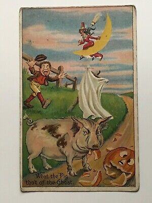Halloween What The Pig Tho't of the Ghost No. 980 Vintage Postcard