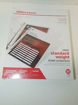 New Office Depot Standard Weight Sheet Protectors 8 12 X 11 Clear 100-pack