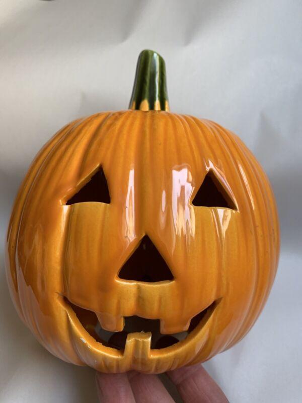 "Jack O Lantern Ceramic Halloween Orange Pumpkin Vintage 1960s 7½"" Tall  #H"