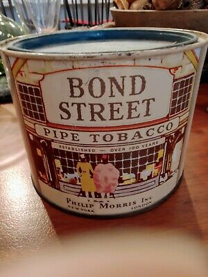 Vintage Bond Street Pipe Tobacco Tin Philip Morris