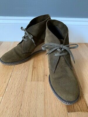 J. Crew Womens Wedge Ankle Boots Bootie Heels Green Suede MacAlister Leather 8
