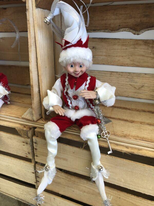"Elf Raz Imports Elf Poseable Shelf Sitter Red White Silver Key 16"" New"