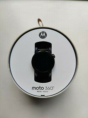 Moto 360 2nd gen 42mm smartwatch in black with leather and metal straps