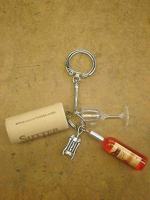 *WINE CORK, BOTTLE,,  GLASS & OPENER KEY CHAIN w/ charms! PARTY FAVORS MINIATURE - Wine Party Favors
