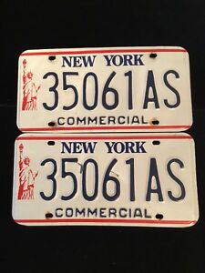PAIR OF NEW YORK STATE USA COMMERCIAL LICENSE PLATES 35061AS