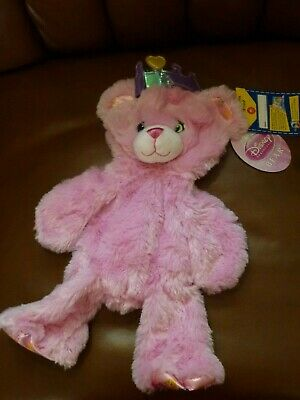Retired UNSTUFFED New with tags pink DISNEY PRINCESS BEAR & CROWN Build A Bear