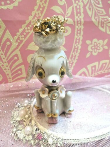 Vtg French Poodle w Gold Bell Pink Flowers Google Eyes Gold Spaghetti Hair