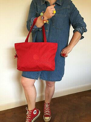 KIPLING MEDIUM RED TOTE SHOULDER BAG COMPLETE WITH PLASTIC RED MONKEY