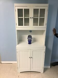 Microwave White Cabinet Glass Doors and Shelves also Is Pantry