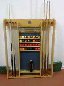 Pool table cues, balls stand Maryborough Central Goldfields Preview