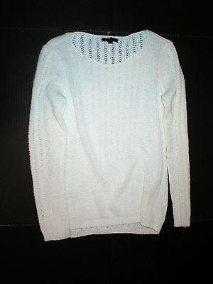 New Stylist Rachel Zoe Open Weave Sweater White Large L Womens Karla Top (Zoe Stylist)