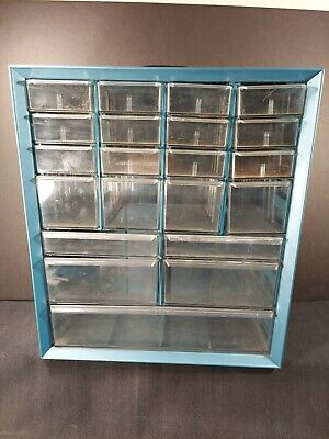 Vintage Akro-mils 21 Drawer Blue Metal Organizer Nut Bolts