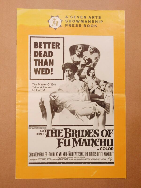 RARE 1966 THE BRIDES OF FU MANCHU PRESS BOOK CHRISTOPHER LEE