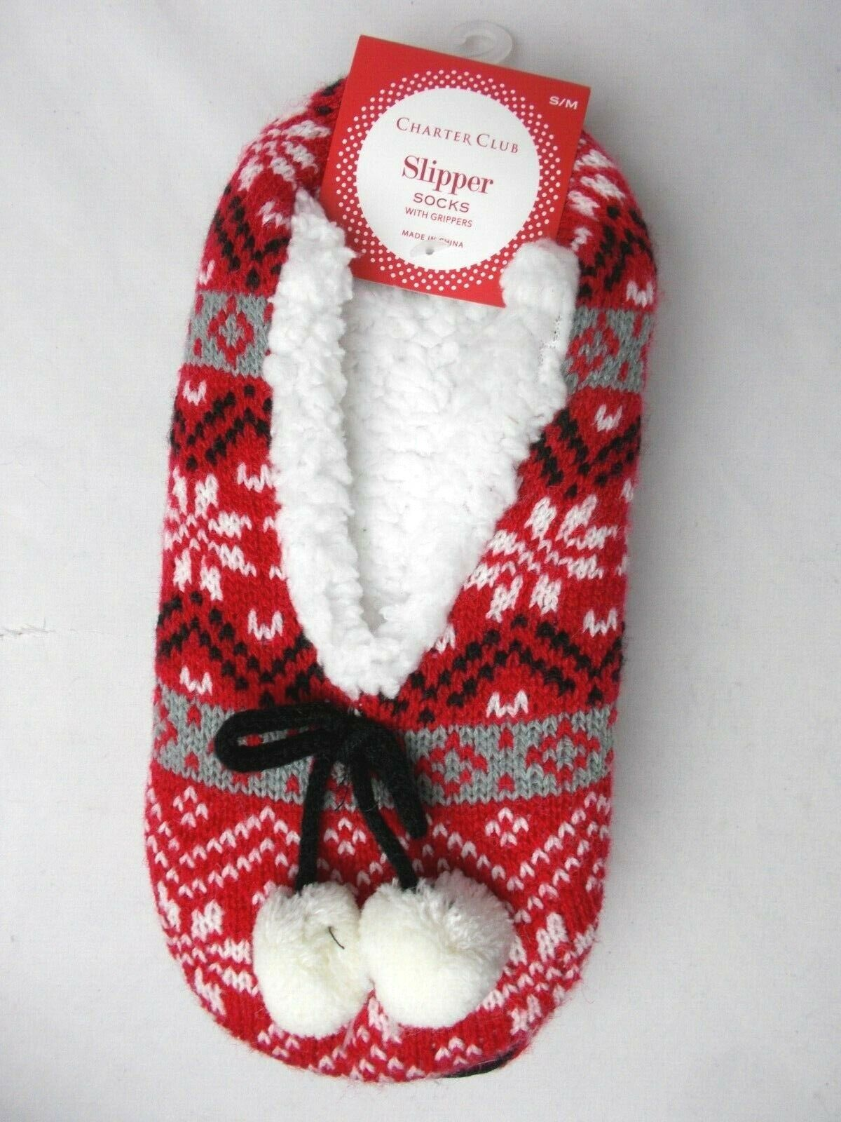 Charter Club Holiday Slipper Socks with Grippers Size S/M Re