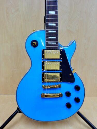 Haze 338ABL All Mahogany LP Electric Guitar,Metallic Light Blue, HHH Pickups+Bag