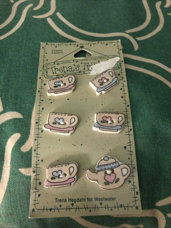 Trena's Trickets Trena Hegdahl For Westwater   Enterprises 6 Tea Cups Buttons