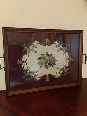 Vintage Hand Made Wood and Glass Serving Tray Rose Needle Point