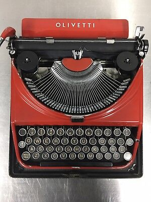 RARE Vintage Manual Olivetti Mp1 Ico Red Portable Typewriter case Box Work C1948