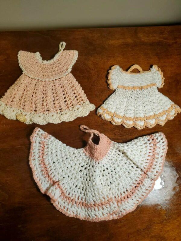 Vintage Peach & Pink Crochet Lace Potholders