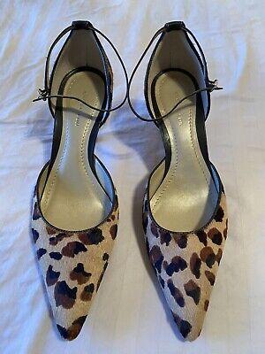 Women's Ann Taylor Loft strappy Ankle slip on Heels pumps 7.5  w/ Animal print