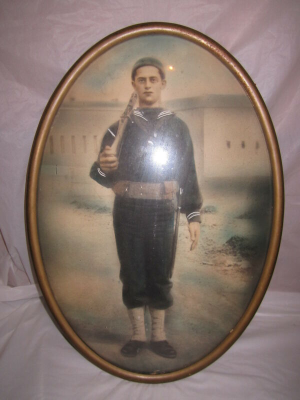 WWI Photograph Navy Uniform Oval Bubble Glass Brass? Frame 20x14 Naval Picture