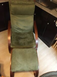 2 IKEA Poang Chairs and Stools with Cushions