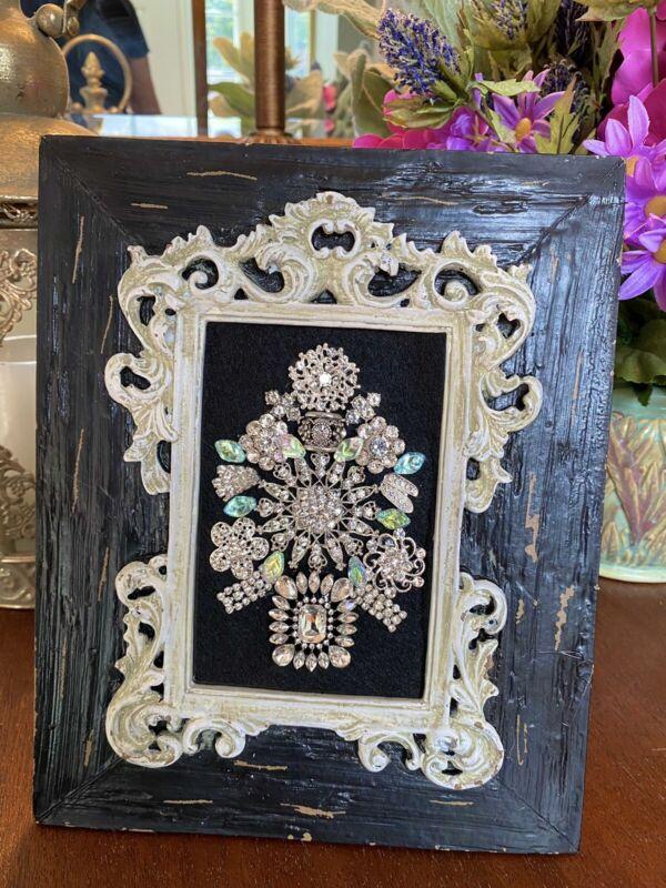 Christmas Tree Jewelry Framed Art, floral rhinestone jewelry design