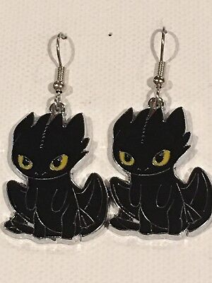 TOOTHLESS Earrings Surgical New How to Train Your Dragon Black Night Fury (Toothless Nightfury)