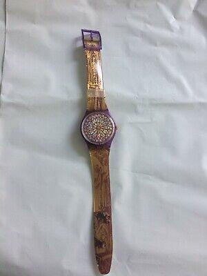 "Vintage Clear Purple 1994 Swatch ""Quasimodo"" Men's Watch - Works"