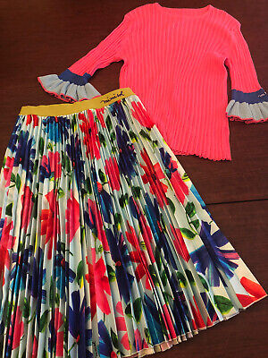 Mimisol Girls Skirt and Sweater Size 14 Sweater & Size 16 Flower printed skirt
