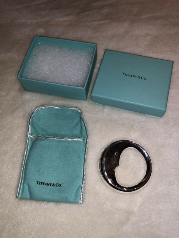 Tiffany & Co Sterling Silver Man In The Moon Rattle w/ Monogram - Pouch and Box