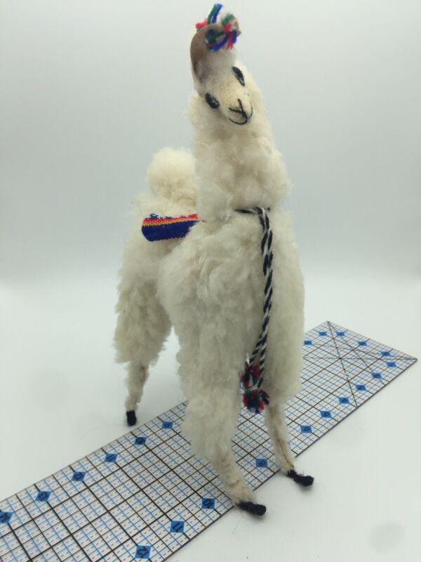 """Vintage Llama 12"""" Stuffed Real Merino Wool Alpaca Handmade Craft  Figurine Peru"""