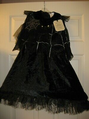 NEW POTTERY BARN KIDS HALLOWEEN BLACK SPIDER QUEEN COSTUME LIGHTS UP SIZE 7-8