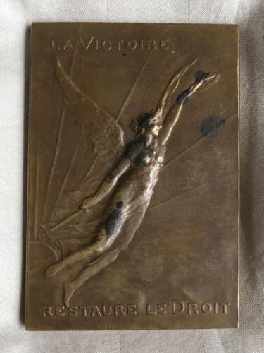 Maurice Guiraud Riviere La Victoire Restaure le Droit Plaque Bronze 1919 Signed