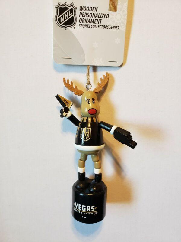 NHL Vegas Golden Knights Reindeer Christmas Ornament Push Button Jiggle Bend
