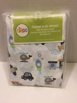 Circo Fitted Crib Sheet Trains Rocket Helicopter Cars Transportation Preshrunk