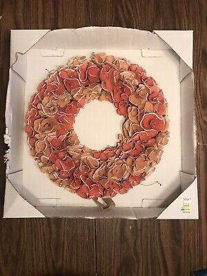 Decorative 16 Inch Dried Flower Wreath Pink / Salmon New In -