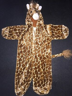 Plush Giraffe Costume Suit Child Size 24M months Hooded Zip Front Halloween