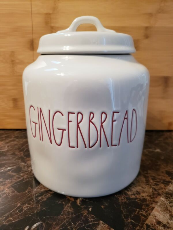 Rae Dunn Gingerbread Canister Jar LL Red