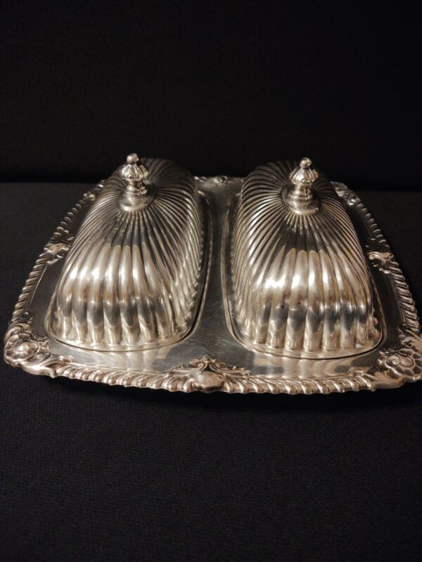 Vintage Double Butter Dish. Silverplate