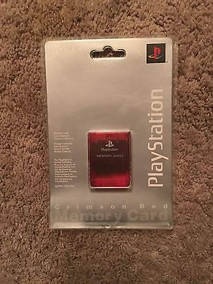 Original Sony Brand PlayStation 1 Memory Card,Crimson Red,PS1,SCPH-1020, NEW
