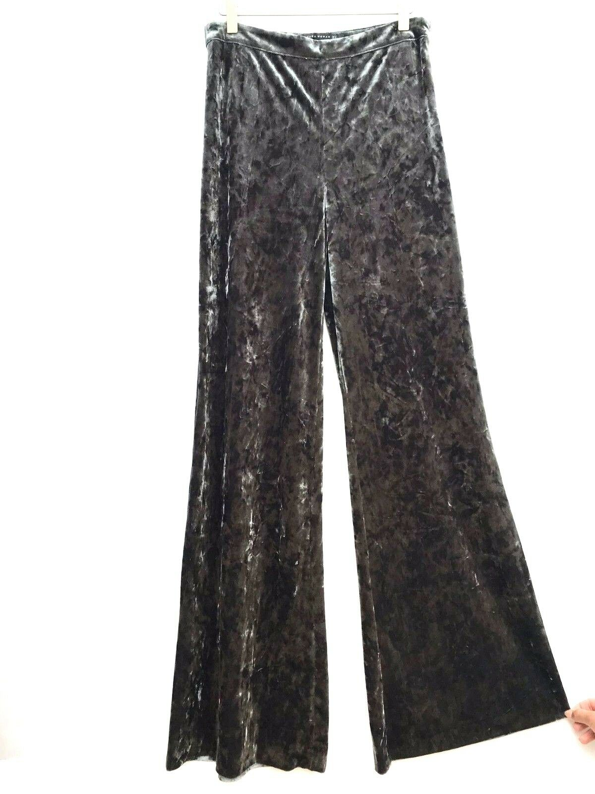 ZARA VELVET FLORAL EMBROIDERED TROUSERS S M L REF 2488 112