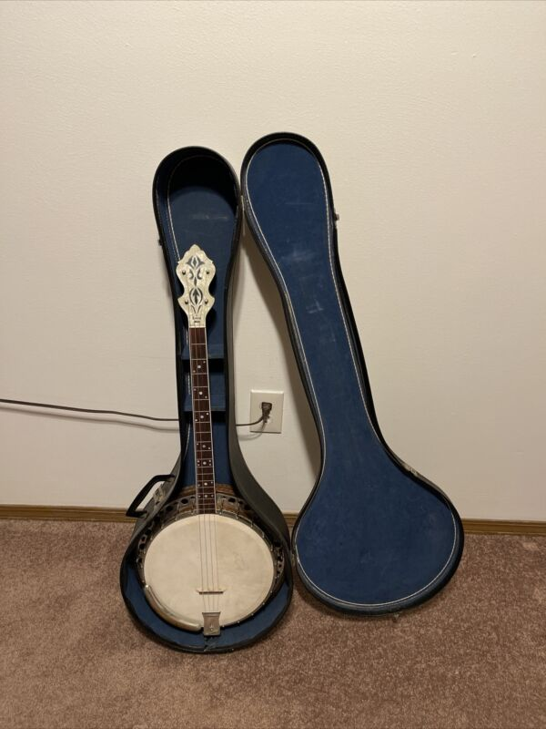 Vintage 1920s Lange Closed Back 4 String Banjo With Case Beautiful Flower Design