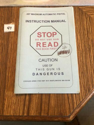 Coonan Arms 357 Magnum Instruction Manual Lot 47