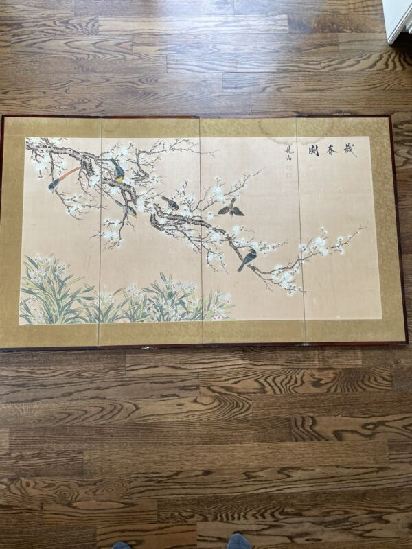 """Oriental Screen Divider Hand Painted 60"""" X 36"""""""