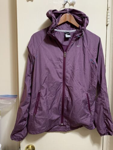 Women's NIKE Zip up Long Sleeve Rain Jacket Wind Breaker Siz